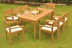 Montana Grade-a Teak Wood 9pc Dining 71 Rectangle Table 8 Stacking Arm Chair Set