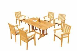 A-grade Teak 7pc Dining Warwick Console Rect Table Hari Stacking Arm Chair Set
