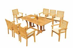 A-grade Teak 9pc Dining Warwick Console Rect Table Hari Stacking Arm Chair Set
