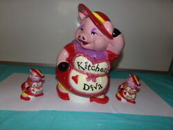 Kitchen Diva Pig Cook Cookie Jar Red Hats With Matching Salt And Pepper Shakers