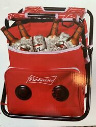 Budweiser Folding Chair Cooler Wireless Bluetooth Speaker Combo Red Tailgate New
