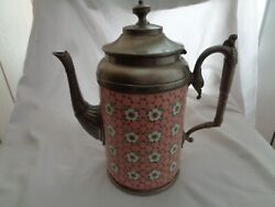 Vintage Enamelware With Pewter Pink Coffee Pot With Chickenwire And Flowers