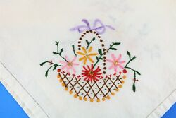 Vtg Table Linens Hand Embroidered Cotton Tablecloth Topper Baskets of Flowers