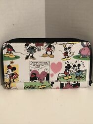Disney Parks Mickey Minnie Mouse Wallet Card Holder Zip Organizer Carryall