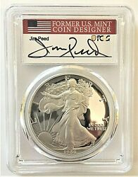 1986-s Proof Silver Eagle-pcgs Pr70-jim Peed Signed-first Year Of Issue-pop 102