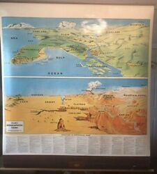 Vintage Cramandrsquos Geographical Terms Pull Down Classroom School Map Geography
