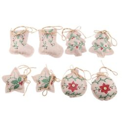 Rustic Christmas Tree Ornaments Stocking Decorations Burlap Country Christma N6