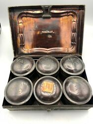 Antique Toleware Spice Box With 6 Round Labeled Spice Tins