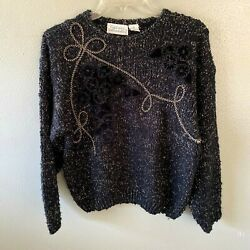 Colleens Collectables Sweater M Black Christmas Pullover Vintage - Size Medium