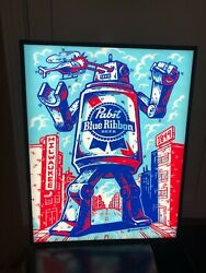Pabst Blue Ribbon Led Beer Bar Sign Man Cave Prb Can Light Robot Milwaukee New