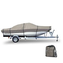 Trailer Boat Cover 600d Heavy Duty Waterproof Fits 16and039 - 18.5and039 Anti-uv W/ Straps