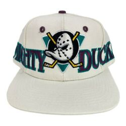 Vintage 90s Anaheim Mighty Ducks The Game Spell Out Snapback Big Logo Hat Nhl