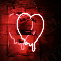 Dripping Heart Decor Wall Real Glass Beer Store Handmade Porcelain Neon Sign