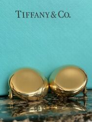And Co 18k Elsa Peretti Round 3d Disk Thumbprint 24mm Earrings 16.4 Grams