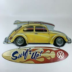 Vw Volkswagen Beetle Bug Surf's Up Metal Sign Wall Decor, Open Road Vw Official