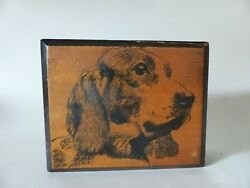 Vintage Signed Artisan Timber Box With Dog Drawing Wooden Jewellery Box