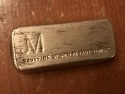 Very Rare Jm 10oz .999 Silver Old Pour Bar Not Johnson Matthey Was Once 50tier1