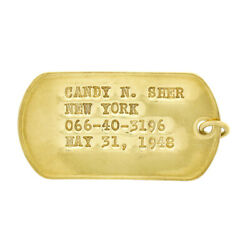 Vintage 18k Yellow Gold Large Military Punched Dog Name Tag Pendant