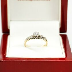 Antique 18ct Diamond Engagement Ring With 0.23ct Rub Over Set Natural Round B...