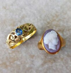 2 X Antique 18ct Gold Rings - French Sapphire - Agate Cameo Femme - C.1890