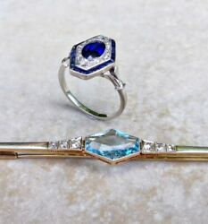 French Plat. And 18ct Gold - Diamond And Synthetic Gemstones - Brooch And Ring C.1930