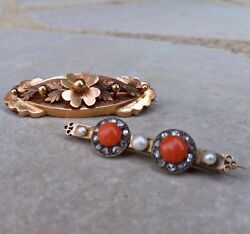 2 X Antique 18ct Gold Brooches - French Coral And Pearl - C.1890