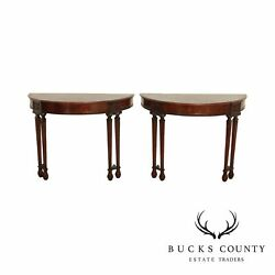 1920and039s Georgian Style Pair Mahogany Demilune Console Tables