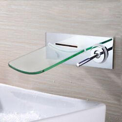 Tj Us Bathroom Faucet Tempered Glass Wall Mount Waterfall Spout Mixer Vanity Tap