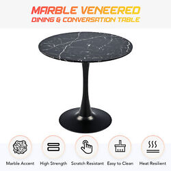 Contemporary Round Dining Table Faux Marble Kitchen Table W Tulip Pedestal