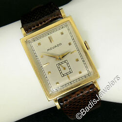 Vintage Rare Menand039s Movado 14k Yellow Gold Unique Large Mechanical Wind Watch