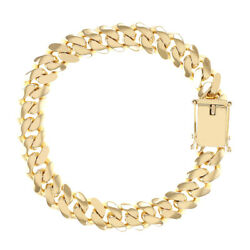 9ct Gold Solid Miami Cuban Bracelet - 11mm - 9 Rrp Andpound3140 - Uk Hallmarked Bc...