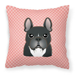 Carolineand039s Treasures Bb1227pw1414 Checkerboard Pink French Bulldog Canvas Fabric
