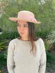 Vintage Light Pink Real Straw Hat With Ribbon Trim And Flower Brooch