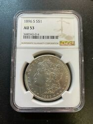 1896 S Morgan Dollar Ngc Au-53 - Key Date - About Uncirculated - Certified - 1
