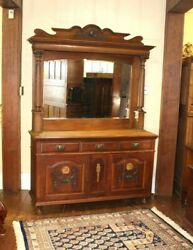 English Antique Oak Buffet / Bar Cabinet With Beveled Mirror