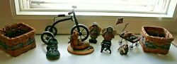 Country Collectibles Baskets, Girl Figurines, Bear, Cat, Bike, Boyd Shoe And Dog