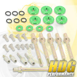 Low Profile Billet Valve Cover Washers Seals Bolts Nuts Green For K20 K24 Dohc