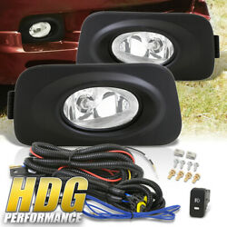 Clear Lens Fog Lights Lamps Set Driver Passenger W/ Wiring Switch For 04-05 Tsx