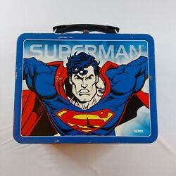 Vintage Superman Metal Lunch Box - Good Condition - Free Shipping