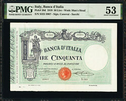 Italy 50 Lire 1919 Pick-38d Pmg About Unc 53 Only Finest Known