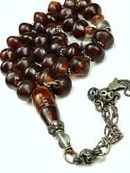 Super Rare Antique Natural Stone Baltic Amber Beads Rosary كهرب انتيك حجر