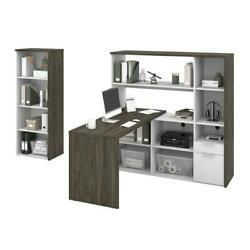 Gemma 2-piece L-shaped Desk And Bookcase - Walnut Grey And White