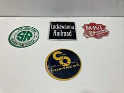Vintage Lot Of 4 Miniature Metal Railroad Signs Post Cereal Box Promos 1950s