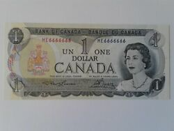 1973 Bank Of Canada 1 Bc-46a Me6666666 Solid Serial Number Note