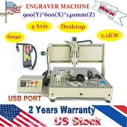 4axis Usb Cnc 6090t Router Engraver Drilling Milling Machine 2.2kw + Handwheel