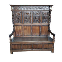 Handsome Antique French Gothic Bench Tall Model Oak 1920and039s