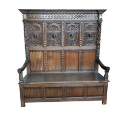 Handsome Antique French Gothic Bench, Tall Model, Oak, 1920's