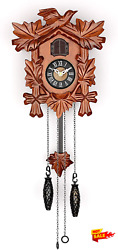 Small Cuckoo Clock With Hand Carved Birds Weights And Swinging Pendulum Cherry