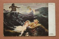 Antique Postcard 1910s Nude Witch Nymphs Mermaids. Sea Devil. Magic World. Waves