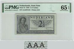 Netherlands 2andfrac12 Gulden 1949 Aaa State Note Pick 73 Pmg Gem Uncirculated 65 Epq